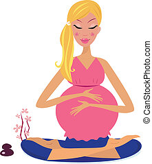 Pregnant woman doing lotus pose - Woman holding belly and...