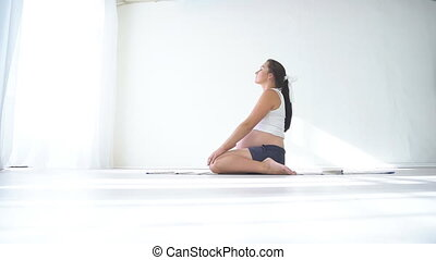 pregnant woman doing sport exercises Yoga