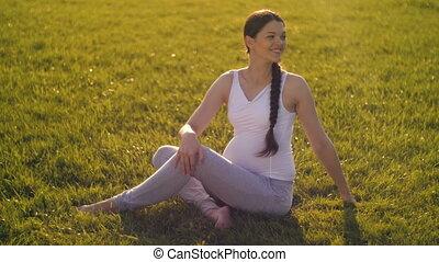 Pregnant woman doing sports