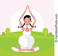 Pregnant woman doing yoga in park