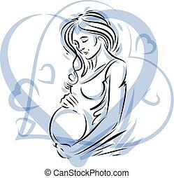 Pregnant woman elegant body silhouette placed in decorative...