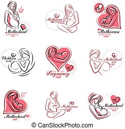 Pregnant woman elegant body silhouettes collection, sketchy vector illustration. Medical rehabilitation and childcare center marketing card