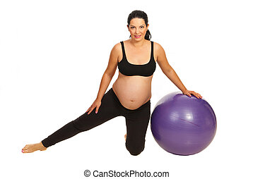 Pregnant woman exercise with ball