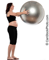 Pregnant Woman Exercise with fitness ball