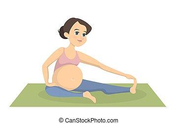 Pregnant woman exercising.