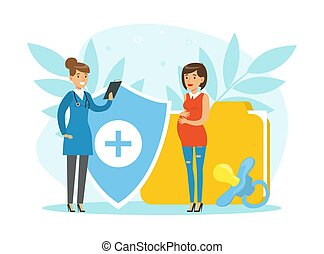 Pregnant Woman Expecting Baby Consulting Gynecologist at Medical Perinatal Centre Vector Illustration. Young Happy Female Engaged in Healthcare Checkup Preparing for Childbirth Concept