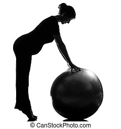 pregnant woman fitness workut pilates - beautiful caucasian...