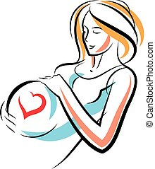 Pregnant woman graceful body outline surrounded by heart...