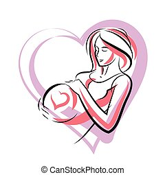 Pregnant woman graceful body outline surrounded by heart shape frame. Vector illustration of mother-to-be fondles her belly. Happiness and caress concept.