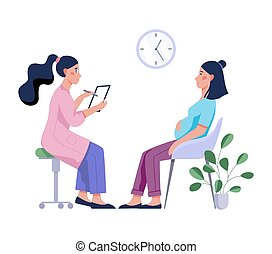 Pregnant woman having a consultation with doctor. Female character