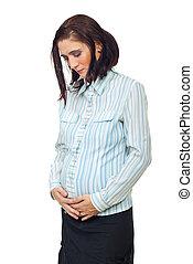 Pregnant woman having stomach pain
