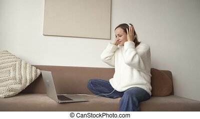 Pregnant woman having video call. Online consultation.
