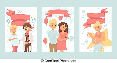 Pregnant woman healthcare banners, young family lifestyle vector illustration