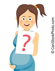 pregnant woman holding paper with question sign - Young...