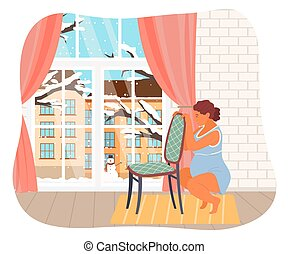 Pregnant woman is squatting, holding on to chair. Woman prepares for childbirth. Female in long gestation period. Winter city view outside the window. Red curtains, yellow rug. Reproduction, birth