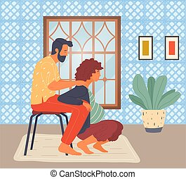 Pregnant woman is squatting, husband supports wife under arms. Maternity, pregnancy, birth