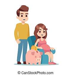 Pregnant woman, man and piggy bank. Saving money for future flat vector illustration