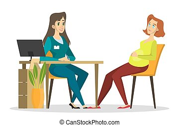 Pregnant woman on a consultation with a doctor. Pregnancy