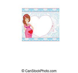 pregnant woman on an abstract background - baby shower card