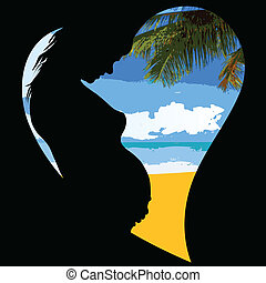 pregnant woman on the beach illustration