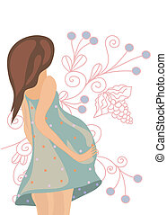 Pregnant woman on the floral background