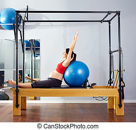 pregnant woman pilates reformer fitball exercise