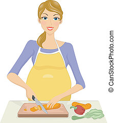 Pregnant Woman Preparing a Meal - Illustration of a Pregnant...
