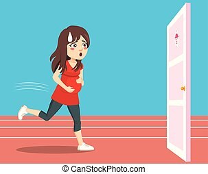 Pregnant Woman Running Pee Urgency - Young pregnant woman...