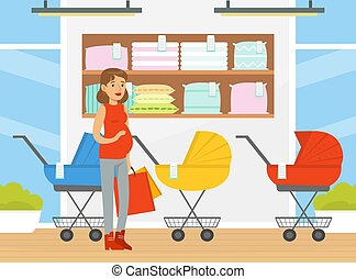 Pregnant Woman Shopping in Baby-goods Store Vector Illustration. Happy Young Female Preparing for Childbirth Buying Baby Stuff Concept