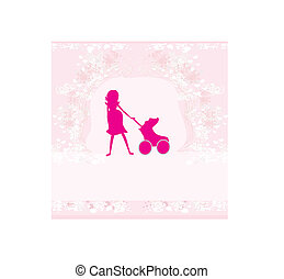 pregnant woman - silhouette illustration