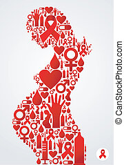 Pregnant woman silhouette with AIDS icons - Pregnant woman...