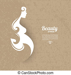 Pregnant woman silhouette with vintage cardboard texture