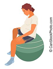 Pregnant woman in white T-shirt and shorts sits on green big fitness ball, relaxes, meditates. Maternity, childbirth, labor. Exercises for pregnant women. Woman with big belly isolated on white