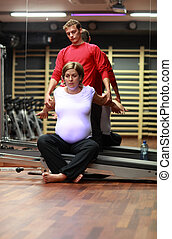 pregnant woman streching