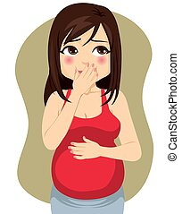 Young pregnant woman suffering heartburn acid reflux