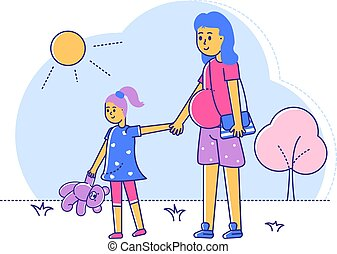 Pregnant woman walk with daughter, line female with late gestation period stroll outdoor park isolated on white, flat vector illustration. Healthy spend time, happy family saunter summer garden.