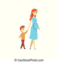 Pregnant woman walking with her son, happy family concept cartoon vector Illustration isolated on a white background.