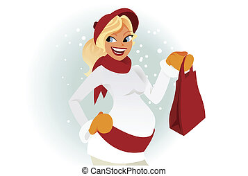 Pregnant woman winter shopping