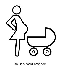 Pregnant woman with a baby carriage line icon. vector illustration isolated on white. outline style design, designed for web and app. Eps 10