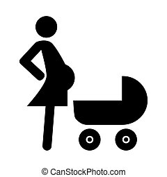 Pregnant woman with a baby carriage solid icon. vector illustration isolated on white. glyph style design, designed for web and app. Eps 10