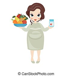 Pregnant woman with a fruit plate i