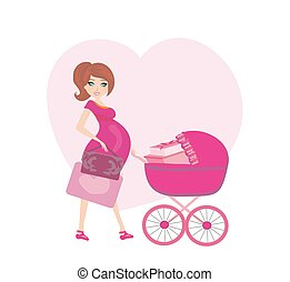 pregnant woman with a pink baby carrier full of presents