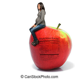 Pregnant Woman with Apple with Nutrition Label - Pregnant...