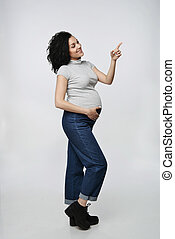 Pregnant woman with copy space on palm - Pregnant woman...