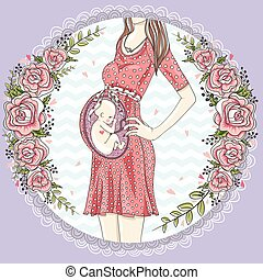 Pregnant woman with cute baby and flower frame