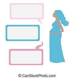 Pregnant woman with dialog boxes