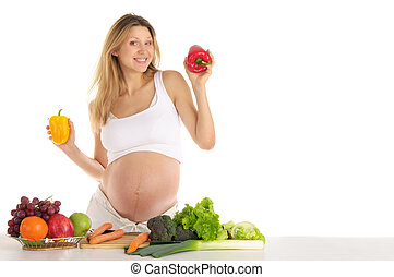 pregnant woman with fruits and vegetables