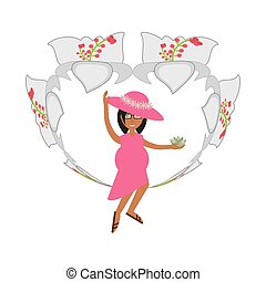pregnant woman with hat flower