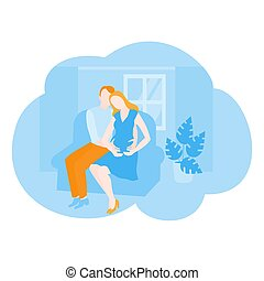 Pregnant woman with husband. Cartoon couple expect a baby, Father and mother in cozy room