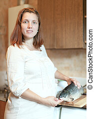 pregnant woman with salmon